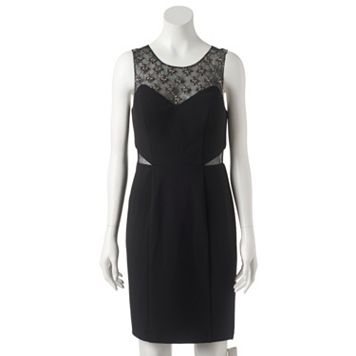 Women's 1 by 8 Embellished Illusion Sheath Dress