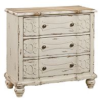Angelica White Distressed Ornate 3-Drawer Dresser