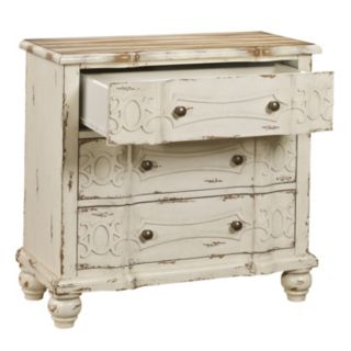 Angelica White Distressed Ornate 3-Drawer Dresser