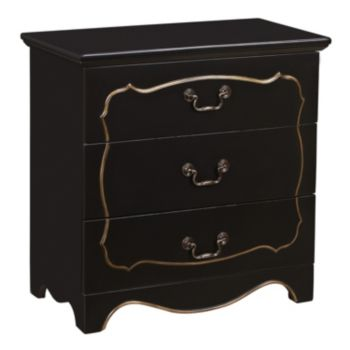 Brittany Black Fancy Overlay 3-Drawer Dresser