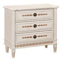 Alston White Fluted Base 3-Drawer Dresser