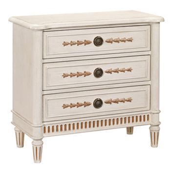 Alston White Fluted Base 3-Drawer Dresser