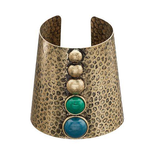 GS by gemma simone Cabochon Hammered Cuff Bracelet