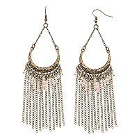 GS by gemma simone Crescent Seed Bead & Fringe Drop Earrings