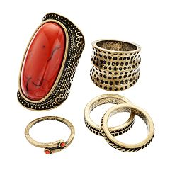 GS by gemma simone Cabochon Textured Ring Set