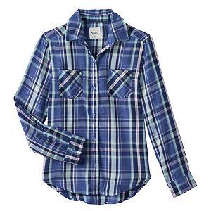 Girls 7-16 & Plus Size Mudd® Button-Front Plaid Shirt