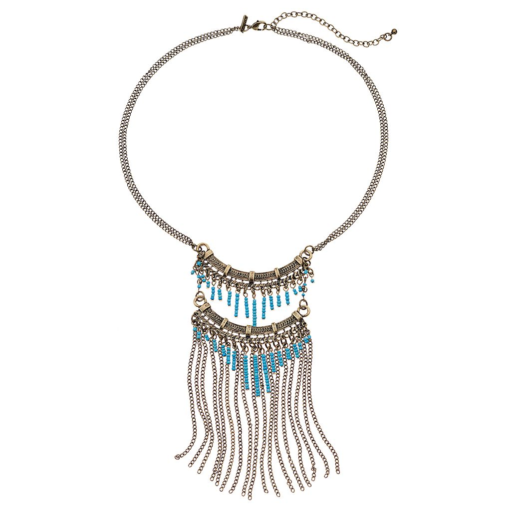 GS by gemma simone Blue Seed Bead & Fringe Statement Necklace