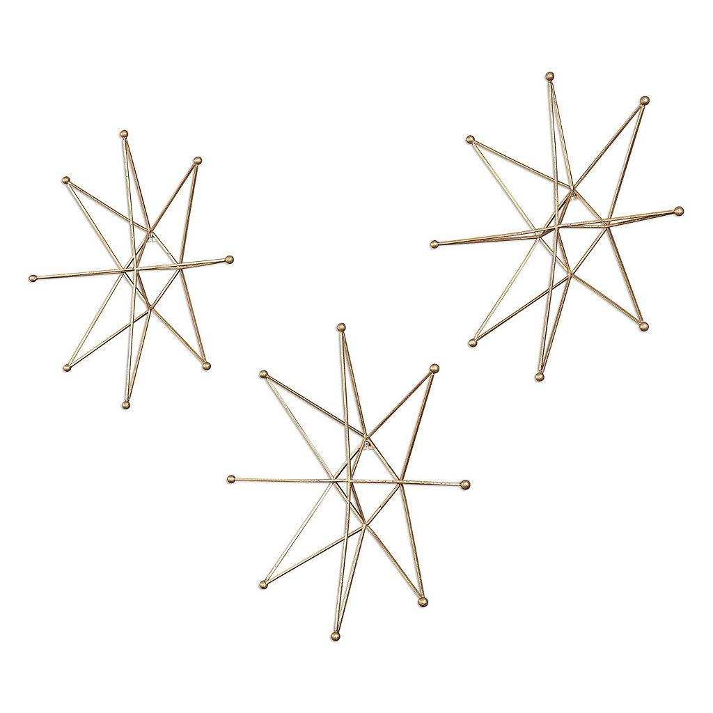 Gold Finish Stars Wall Art 3-piece Set