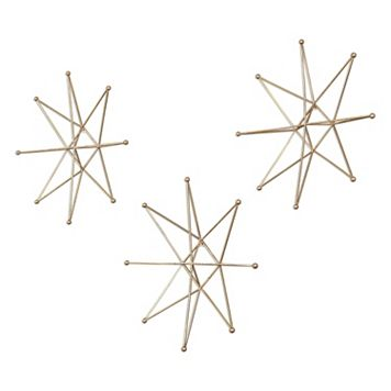 Gold Finish Stars Wall Art 3-piece Set