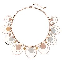 Tri Tone Textured Disc Statement Necklace