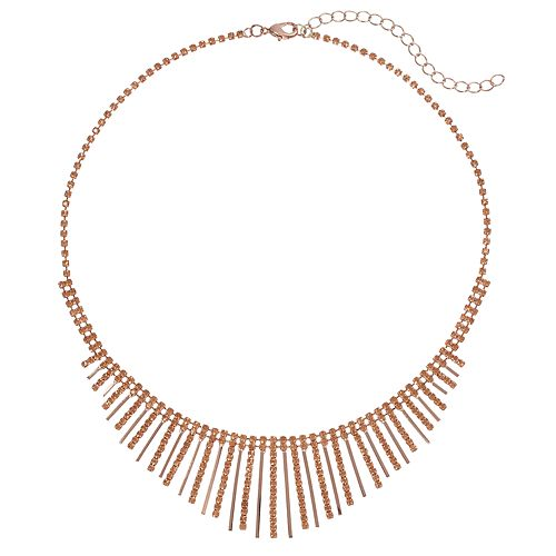 Pink Simulated Crystal Graduated Stick Necklace