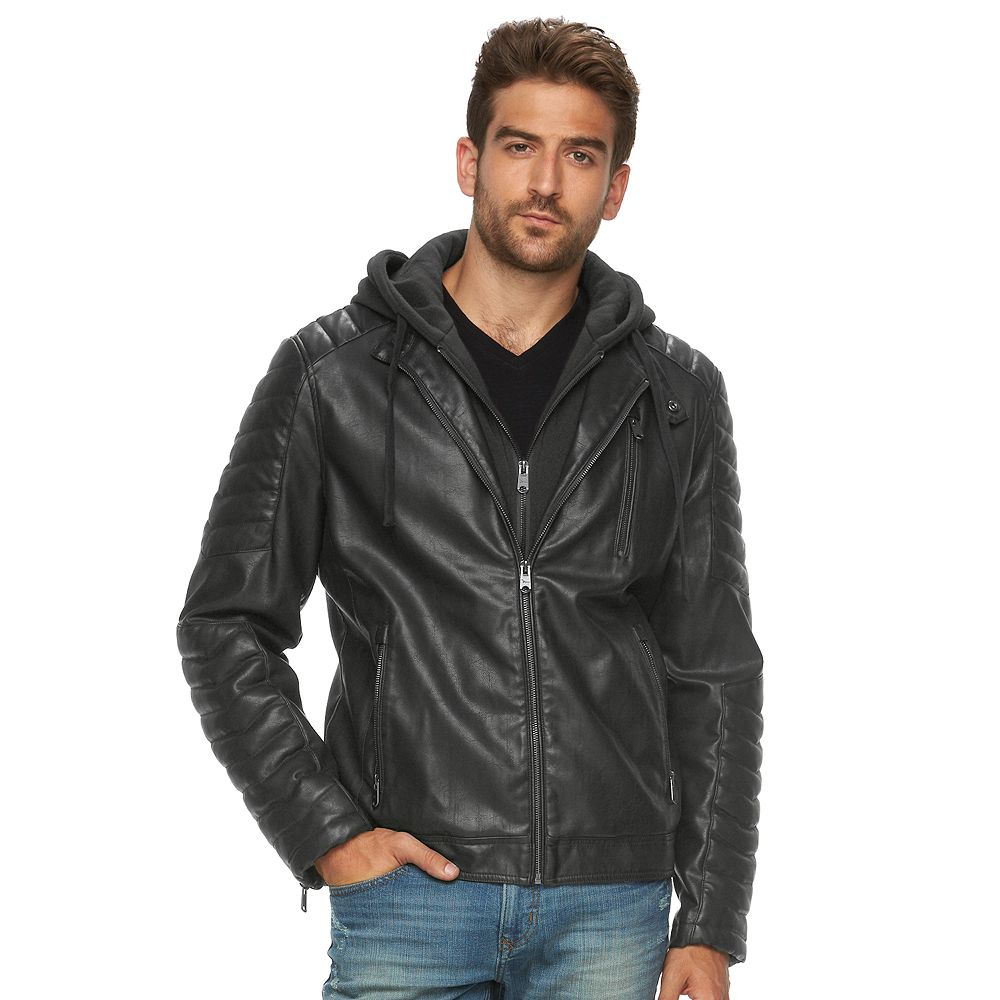 Leather jacket hoodie - Men S Marc Anthony Slim Fit Hooded Faux Leather Jacket