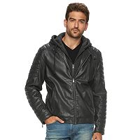Men's Marc Anthony Slim-Fit Hooded Faux-Leather Jacket