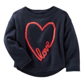 "Girls 4-8 OshKosh B'gosh® ""Love"" Heart Knit Sweater"