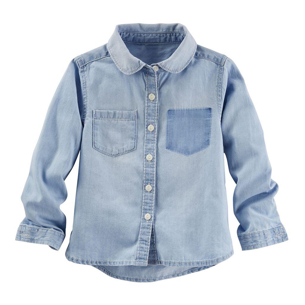 Girls 4-8 OshKosh B'gosh® Shadow Pocket Chambray Button-Down Shirt