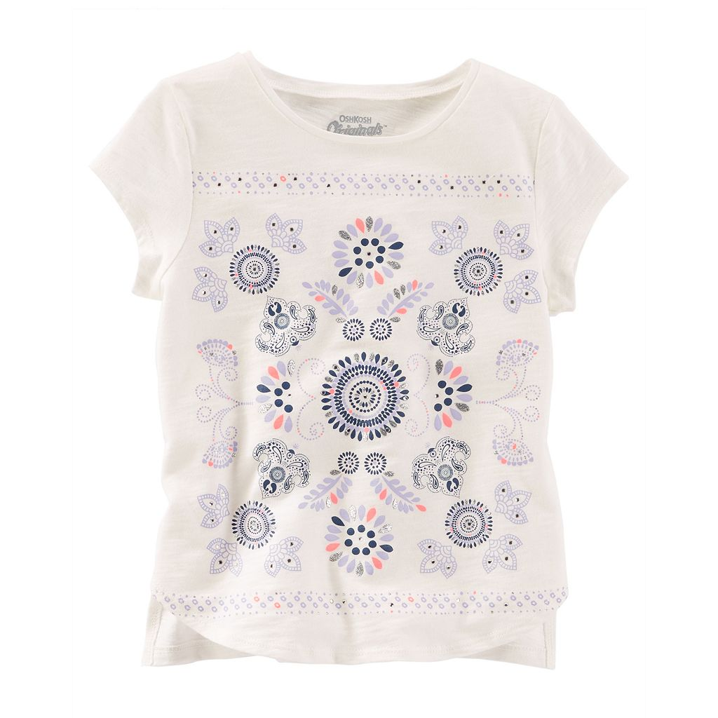Girls 4-8 OshKosh B'gosh® Glitter Rhinestone Tribal Paisley Slubbed Tee