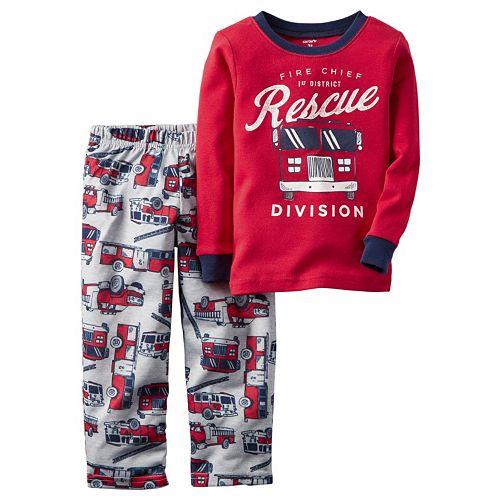 Carters Toddler Boys 4 Pc Pajama PJs Sleep Play Sleep Snug fit Cotton Firefighter Hero