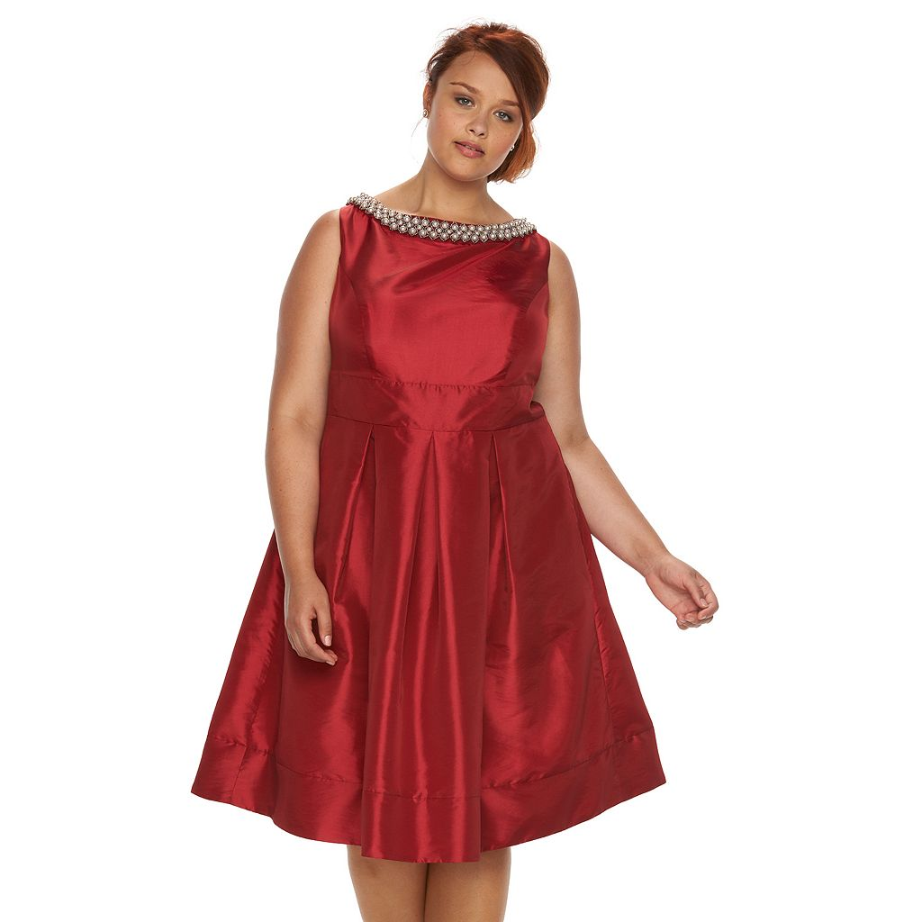 Plus Size Chaya Embellished Sateen Party Dress