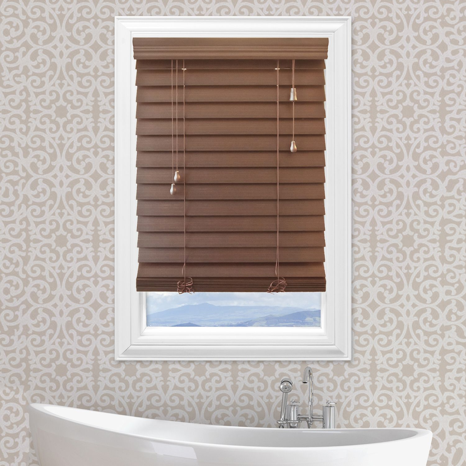 Cut To Order Premium 25inch Faux Wood Blinds 72 Length