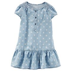 Girls 4-8 OshKosh B'gosh® Polka-Dot Chambray Drop-Waist Dress
