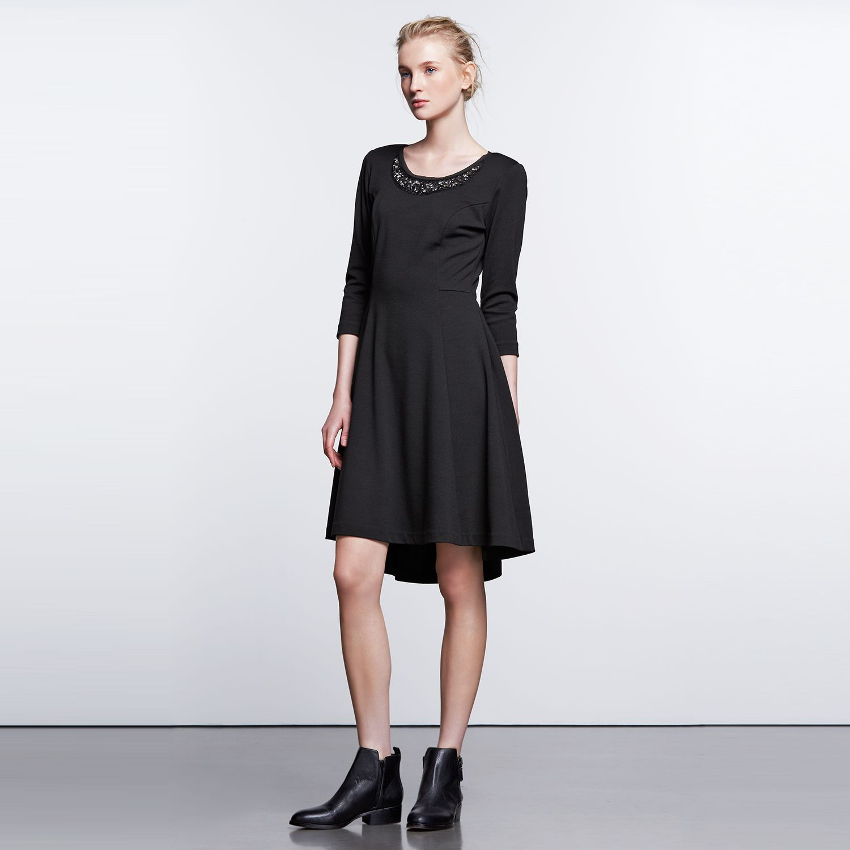 Womens Simply Vera Vera Wang Simply Noir Ponte High-Low Dress
