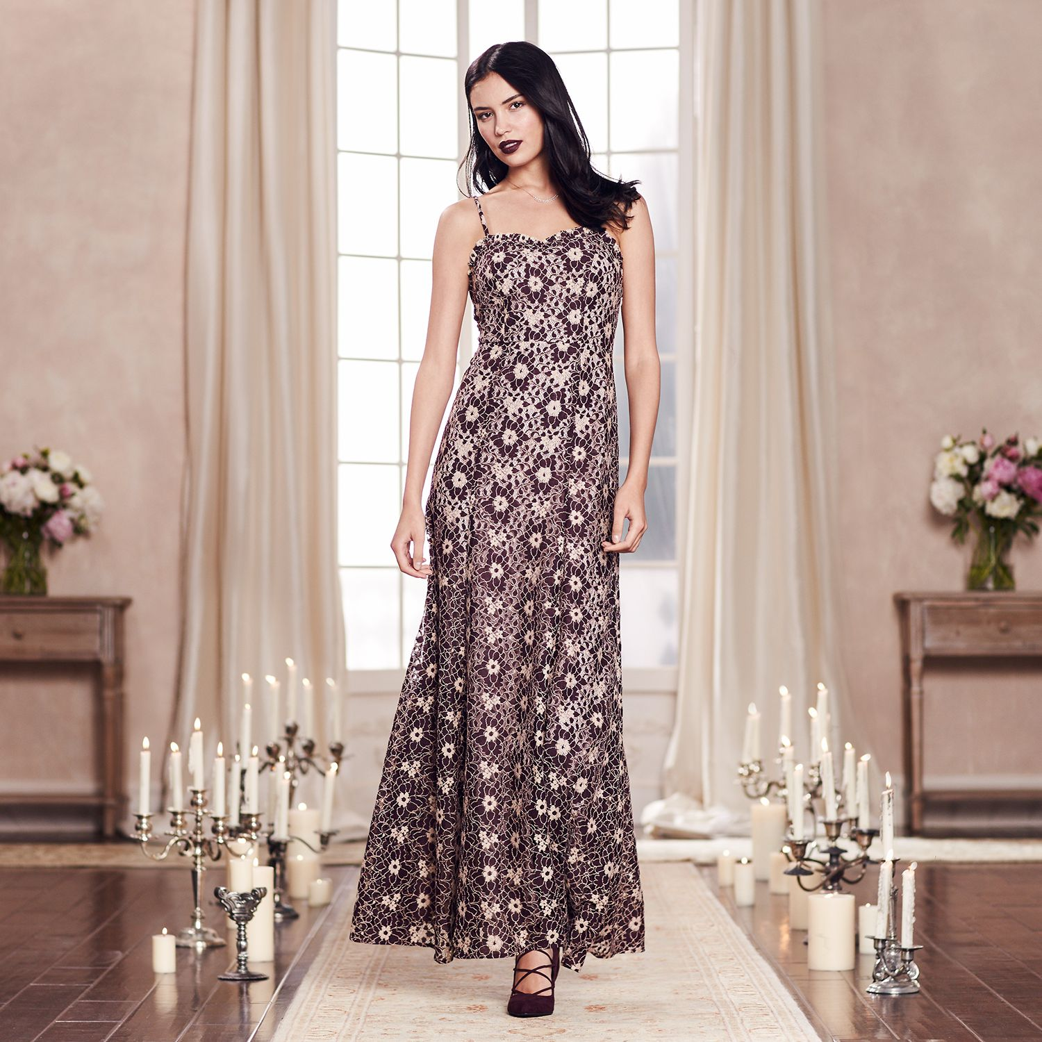 LC Lauren Conrad Runway Collection Floral Lace Maxi Dress - Womens