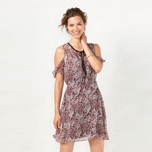 Women's LC Lauren Conrad Floral Cold Shoulder Dress