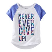 Girls 4-8 OshKosh B'gosh® 'Never Ever Give Up' Raglan Short Sleeve Active Tee