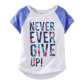 "Girls 4-8 OshKosh B'gosh® ""Never Ever Give Up"" Raglan Short Sleeve Active Tee"