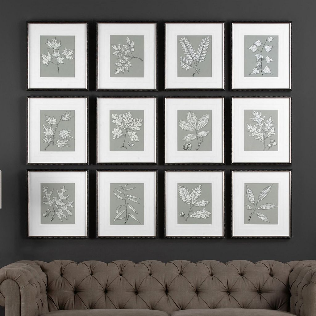 Leaves On Taupe Framed Wall Art 12-piece Set
