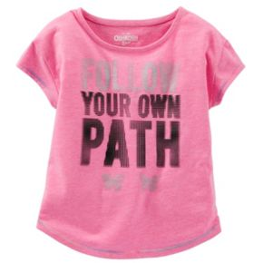 "Girls 4-8 OshKosh B'gosh® ""Follow Your Own Path"" Dot Graphic Neon Active Tee"