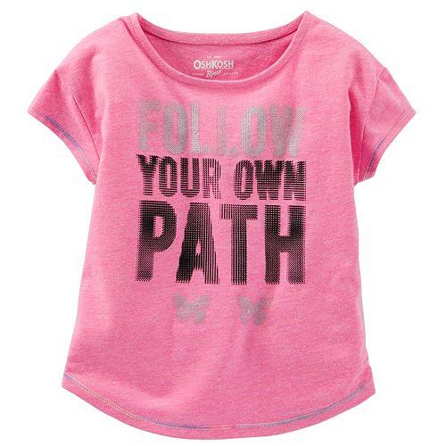 "Girls 4-8 OshKosh B'gosh® ""Follow Your Own Path"" Dot Graphic Neon Active Tee"