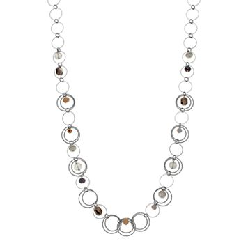 Long Beaded Orbital Circle Link Necklace