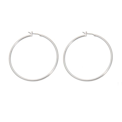 Napier® Silver Tone Hoop Earrings - 1 3/4-in.