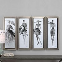 Fashion Sketchbook Framed Wall Art 4-piece Set