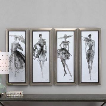 Fashion Sketchbook Framed Wall Art 4-piece Set