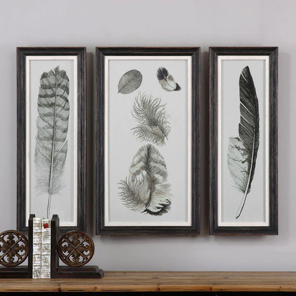 Feather Study Framed Wall Art 3-piece Set