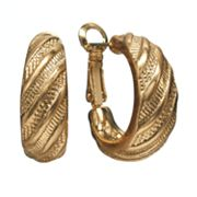 Napier Gold-Tone Striped Clip-On Hoop Earrings
