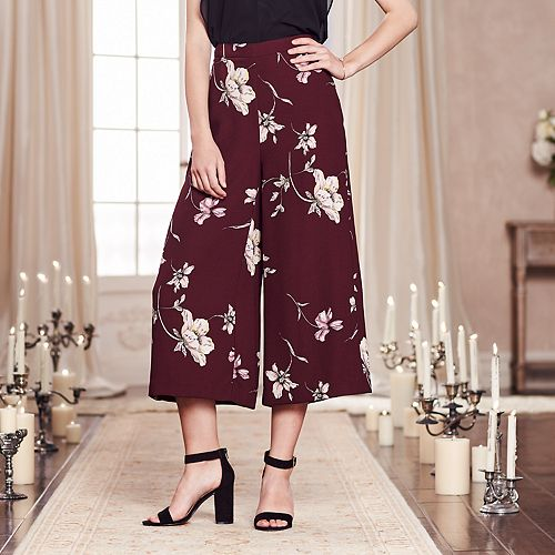 LC Lauren Conrad Runway Collection Floral Crop Wide-Leg Pants - Women's