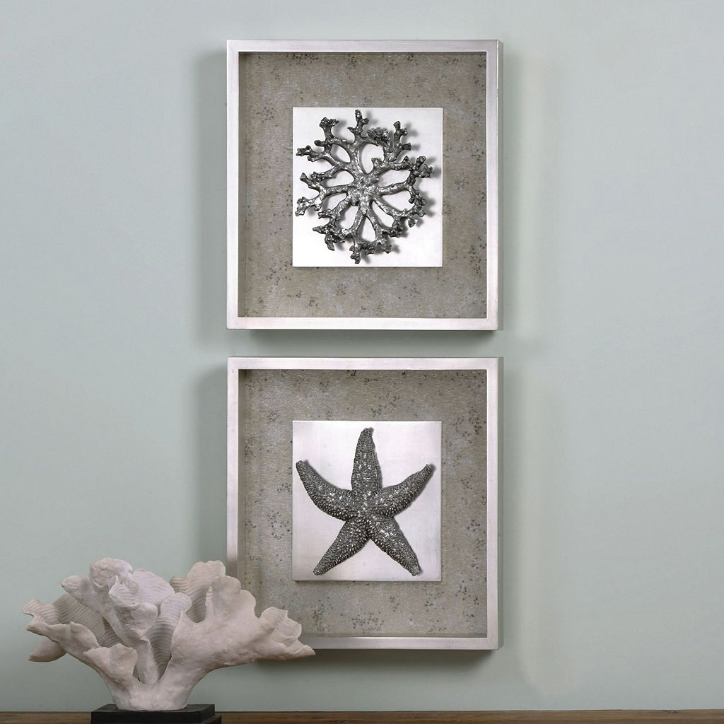 Starfish & Coral Framed Wall Art 2-piece Set