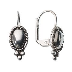 Napier® Silver-Tone Oval Beaded Drop Earrings