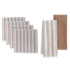Food Network™ Awning Stripe Bar Mop Dish Cloth & Kitchen Towel 4 pk