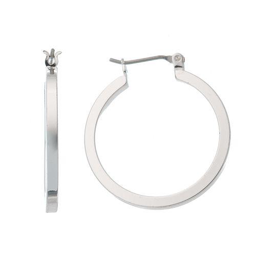 Napier® Silver-Tone Flattened Hoop Earrings