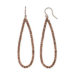 Pink Simulated Crystal Pave Teardrop Earrings