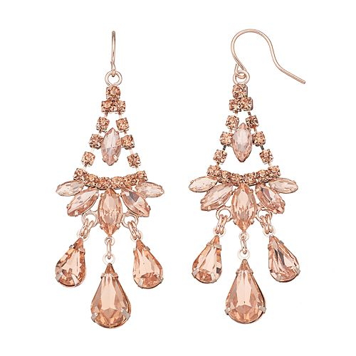 Pink Stone Nickel Free Kite Earrings