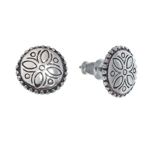 Napier® Silver-Tone Engraved Stud Earrings