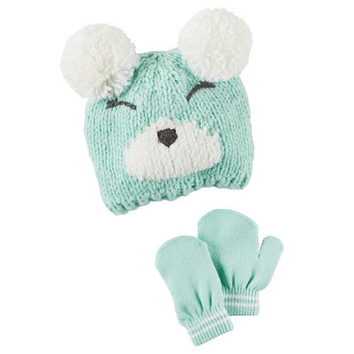 Toddler Girl Carter s Double-Pom Bear Hat   Mittens Set bfbf828cabfb