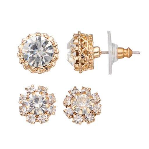 Faceted Stud Earring Set