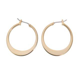 Napier Gold-Tone Graduated Flattened Hoop Earrings - 1-in.
