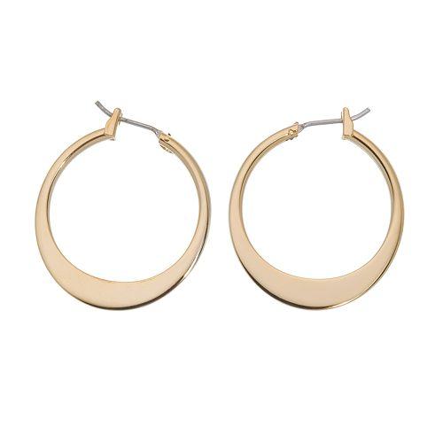 Napier® Gold-Tone Graduated Flattened Hoop Earrings - 1-in.